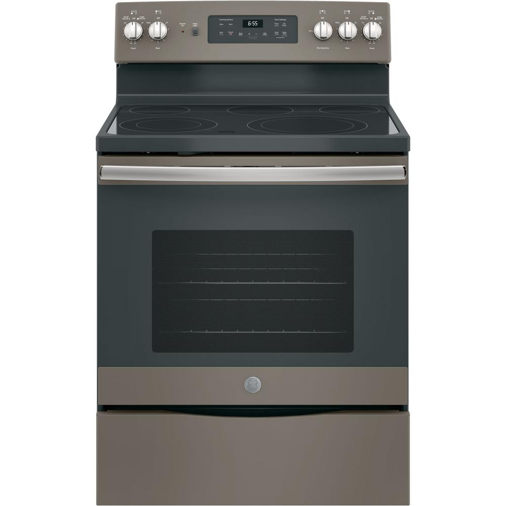 GE 30 in. 5.3 cu. ft. Electric Range with Self-Cleaning Convection Oven in Slate, Fingerprint Resistant