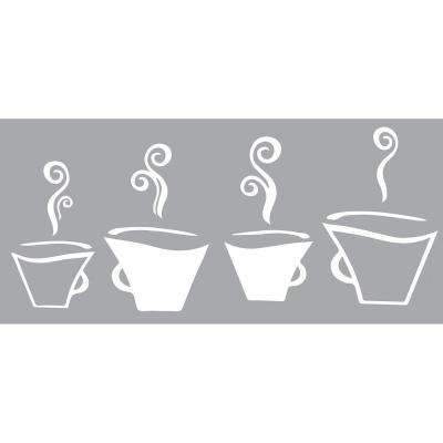 26.4 in. x 23.6 in. Coffee Cups Window Stickers