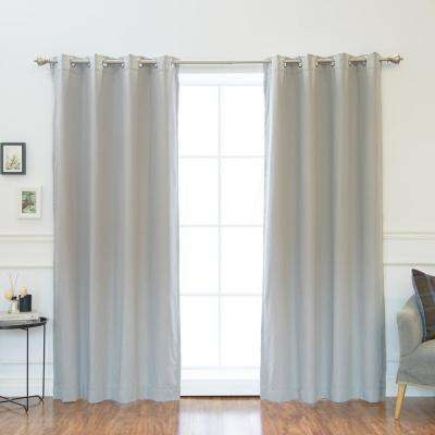 84 in. L Solid Cotton Blend Blackout Curtains in Grey (2-Pack)