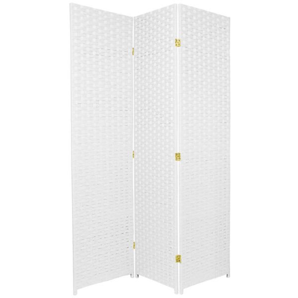 Oriental Furniture 6 ft. White 3-Panel Room Divider SSFIBER-3P-WHT