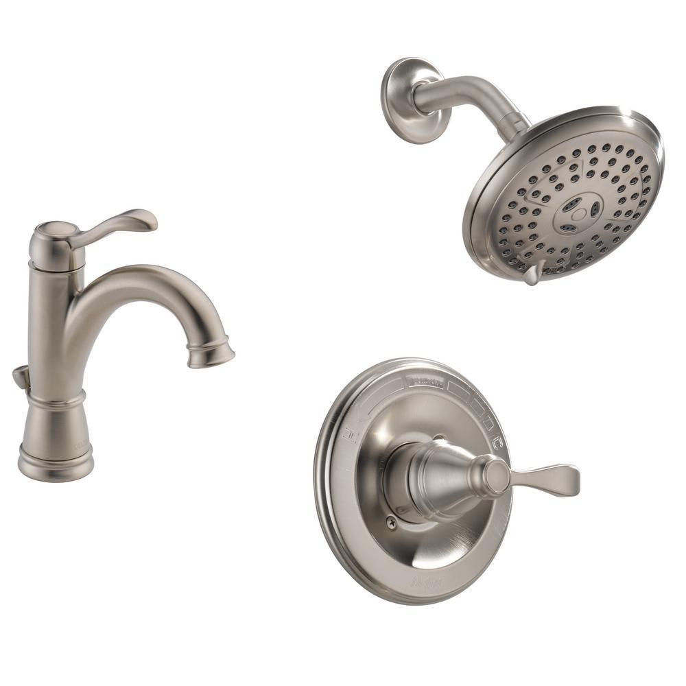Porter 4 in. Centerset Single-Handle Bathroom Faucet Bundle with Shower in Brushed Nickel