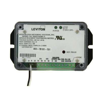 Mini Meter Single Element, 1PH, 2-Watt, 120-Volt, 0.1/ 0.01 kWh Isolated Outputs 0.1 kWh Counter Output, 100:0.1, Black