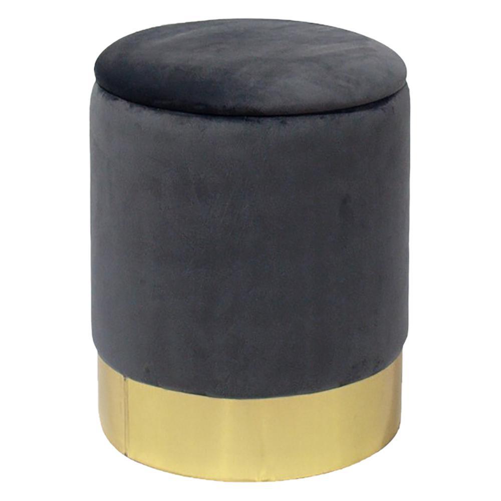 Gray Velvet Round Storage Ottoman