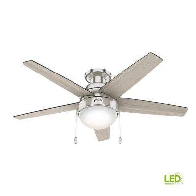 Parmer 46 in. LED Indoor Brushed Nickel Flush Mount Ceiling Fan