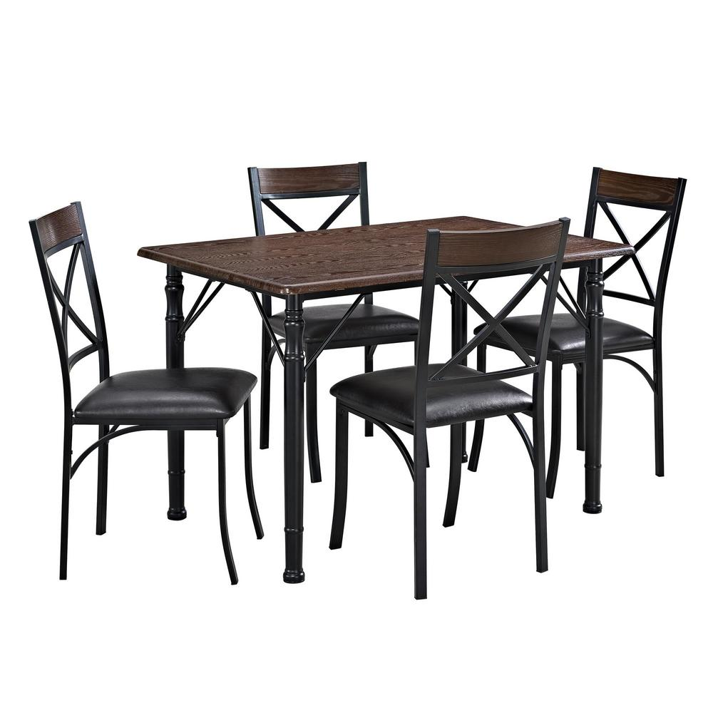 Whitley Cappuccino 5 Piece Dinette Set: Dorel Living Hayden 5-Piece Espresso Dining Set-FH7509