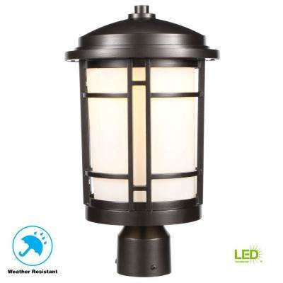 Burnished Bronze Outdoor Led Post Light With White Opal Gl