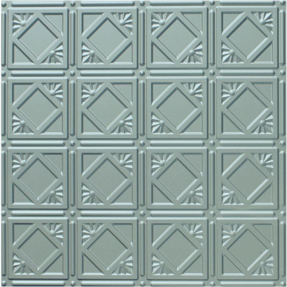 Global Specialty Products Dimensions 2 ft. x 2 ft. Nickel Tin Ceiling Tile for Refacing in T-Grid Systems