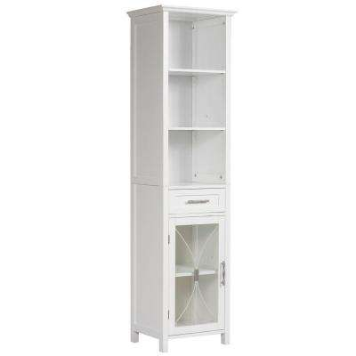 Victorian 17 in. W x 65 in. H x 13-1/2 in. D Bathroom Linen Storage Cabinet in White