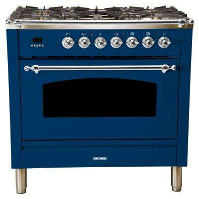 36 in. 3.55 cu. ft. Single Oven Italian Gas Range with True Convection, 5 Burners, Griddle, LP Gas, Chrome Trim in Blue