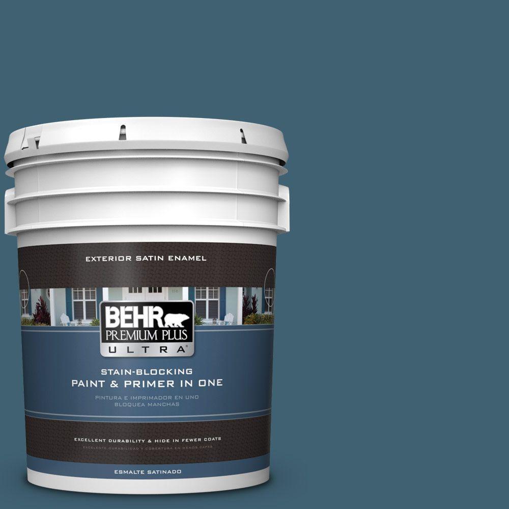 BEHR Premium Plus Ultra 5-gal. #PPU13-18 Bermudan Blue Satin Enamel Exterior Paint
