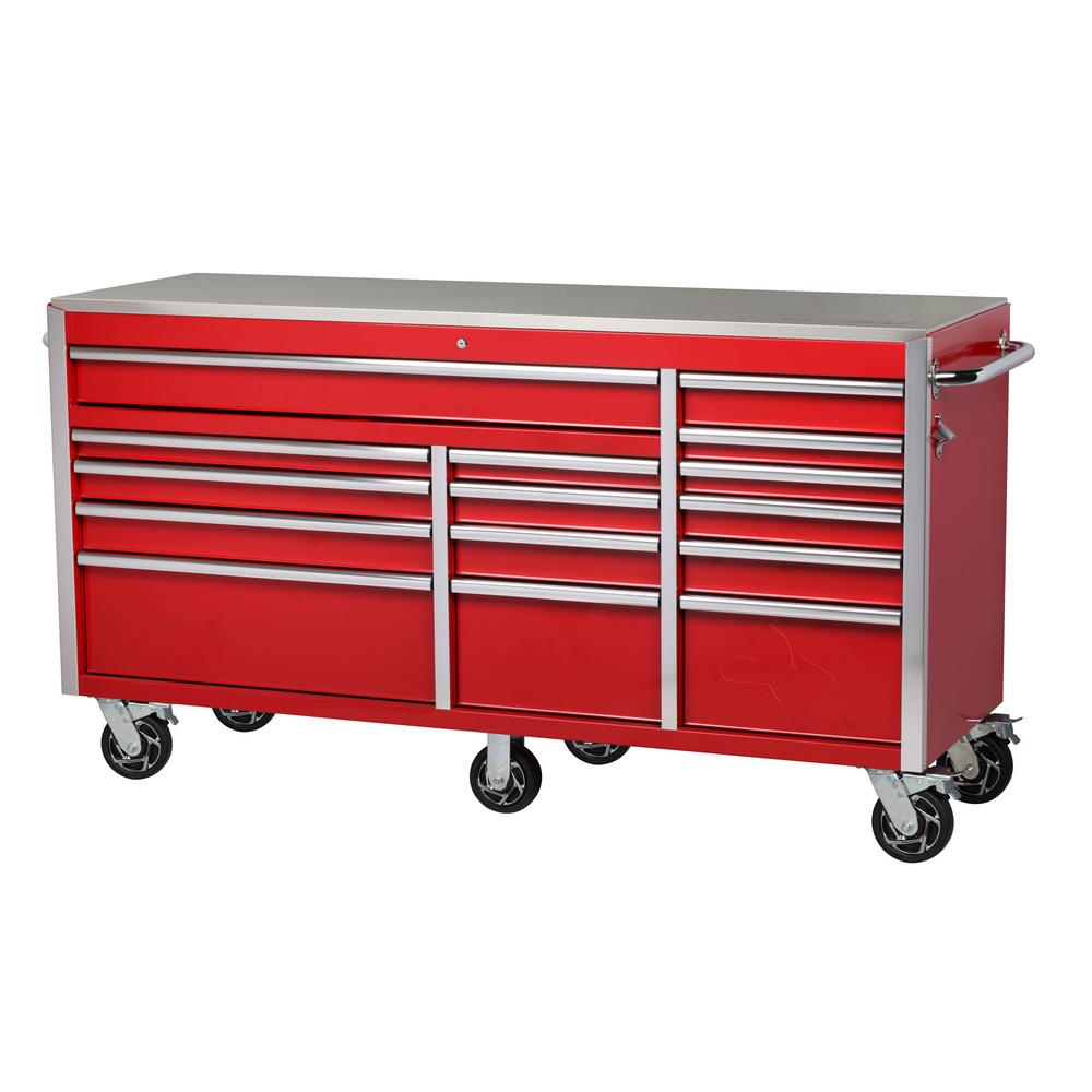 Husky Heavy-Duty 72 in. W 15-Drawer, Deep Tool Chest Mobile Workbench in Gloss Red with Stainless Steel Top