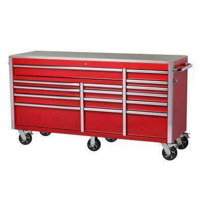 72 in. W x 24 in. D 15-Drawer Mobile Workbench with Stainless Steel Top in Red