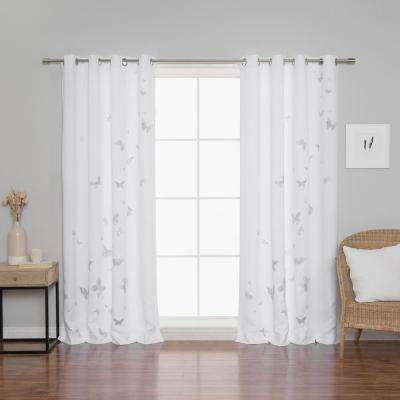 Butterfly Curtains 52 in. W x 84 in. L in Grey (2-Pack)
