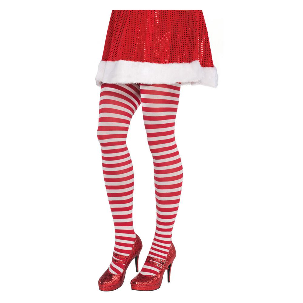 amscan adult plus striped christmas red and white tights 2 pack