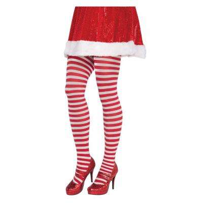 Adult Plus Striped Christmas Red and White Tights (2-Pack)