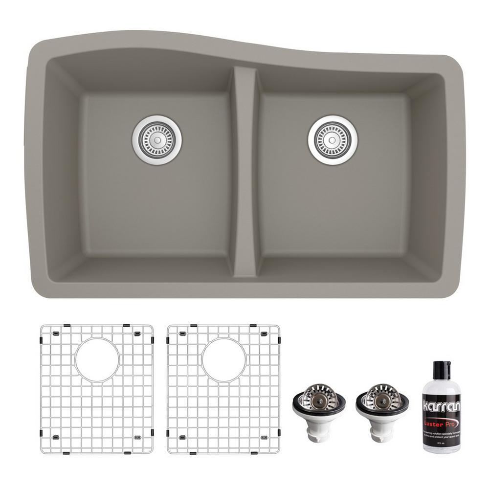 QU-720 Quartz/Granite Composite 32 in. Double Bowl 60/40 Undermount Kitchen Sink with Grid & Basket Strainer in Concrete