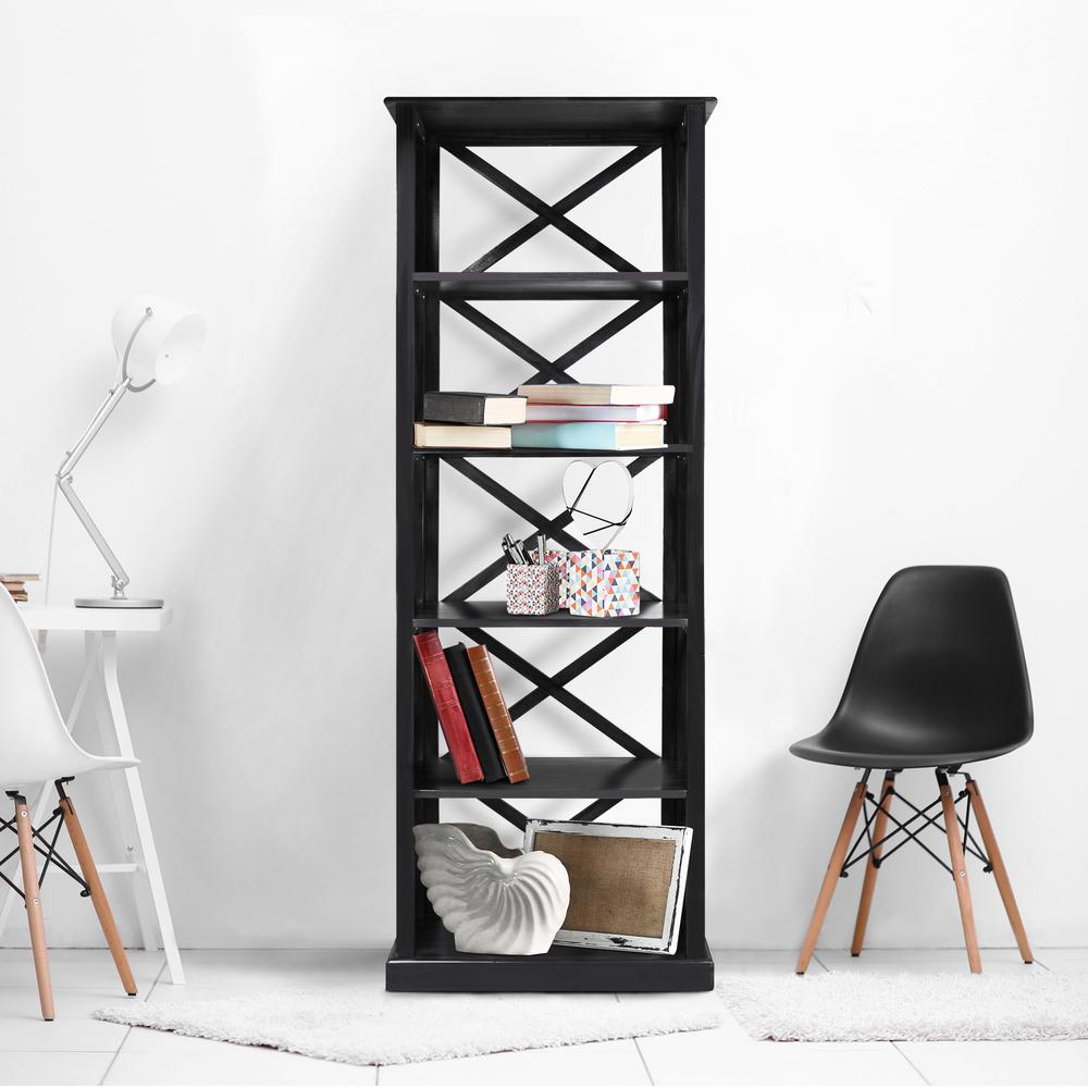 Bay View Black 6-Shelf Bookcase