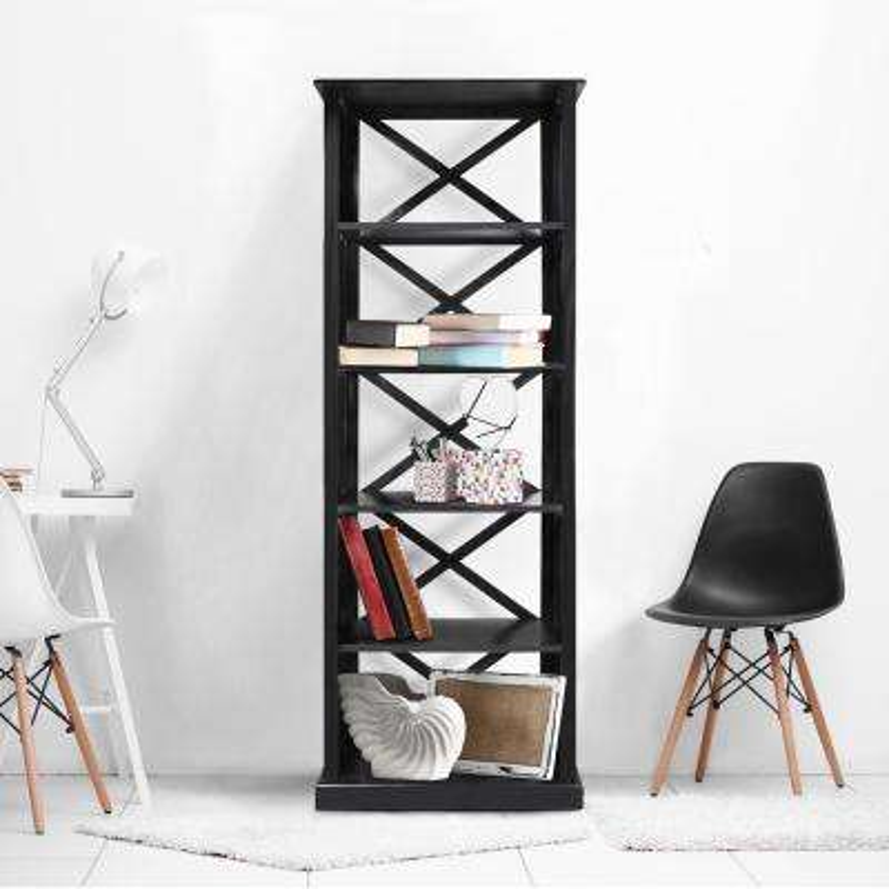 Bay View Black 6-Shelf Bookcase