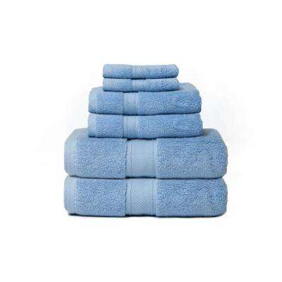 Hotel Zero Twist 6-Piece 100% Cotton Bath Towel Set in Sail Blue