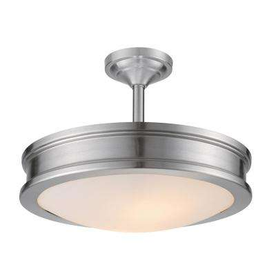 Downshire 2-Light Brushed Steel Semi-Flush Mount Ceiling Light with Frosted Glass Shade
