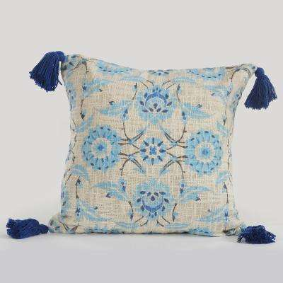 Floral Paradise Light Blue 18 in. x 18 in. Throw Pillow