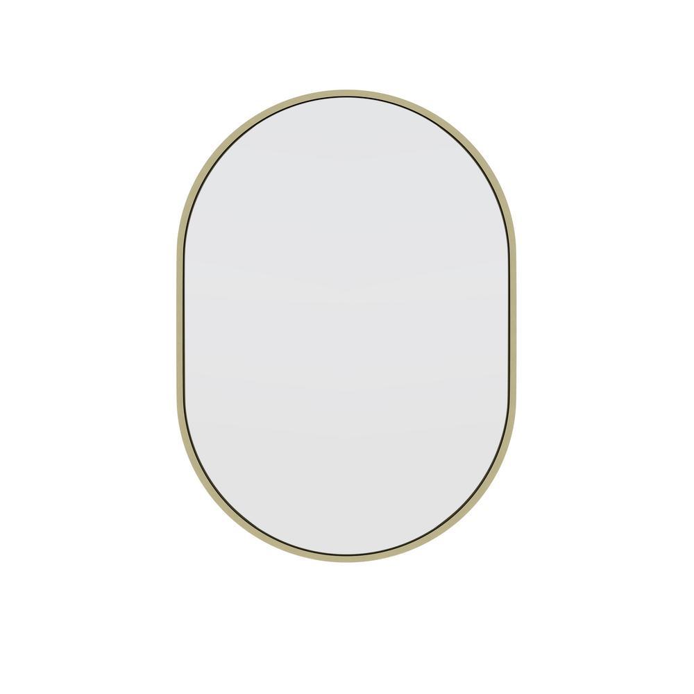 20 in. W x 28 in. H Framed Oval Bathroom Vanity Mirror in Satin Brass