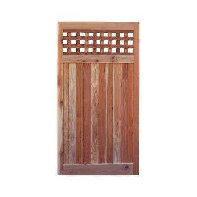 3 ft. x 6 ft. Western Red Cedar Flat Top Checker Lattice Fence Gate