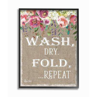 """16 in. x 20 in. """"Floral Linen Wash Dry Fold"""" by Sheri Hart Printed Framed Wall Art"""