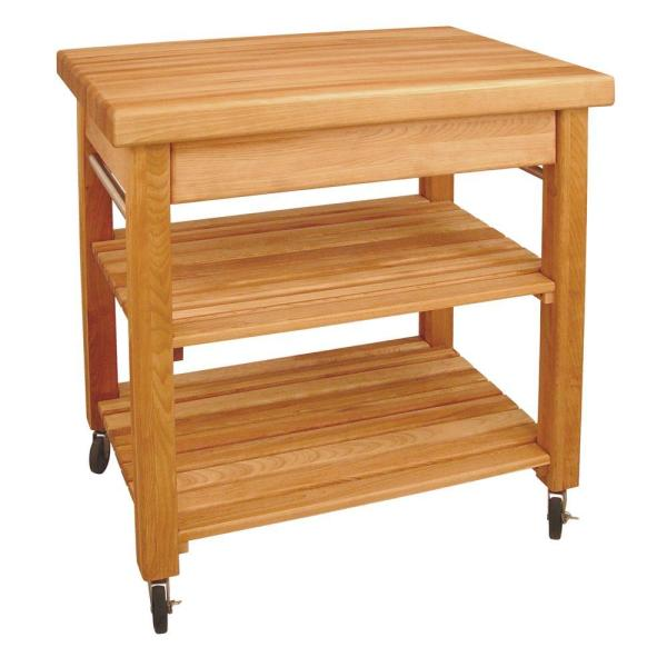 French Country Natural Wood Kitchen Cart with Storage