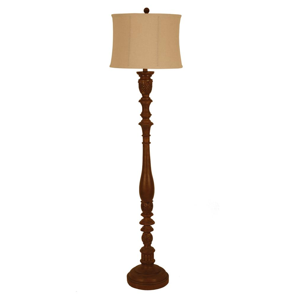 Nadia 62.5 in. Bronze Floor Lamp with Linen Shade