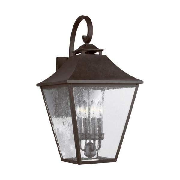 Galena 4-Light Sable Outdoor Wall Mount Lantern with Clear Seeded Glass