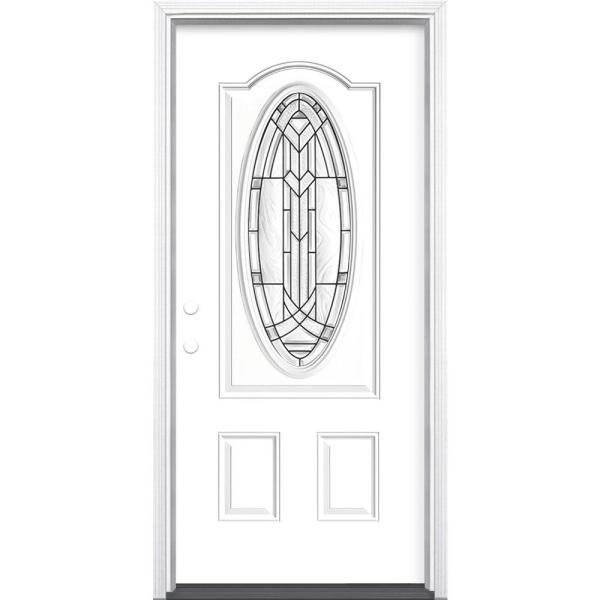 36 in. x 80 in. Chatham 3/4 Oval Lite Right-Hand Inswing Painted Steel Prehung Front Exterior Door with Brickmold