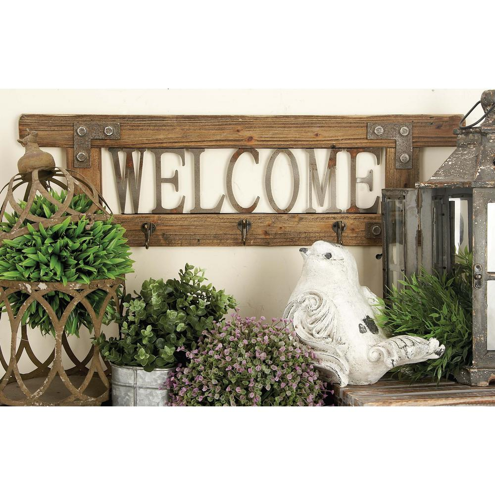 "32 in. x 10 in. ""Welcome"" Wood and Metal Wall Hook"