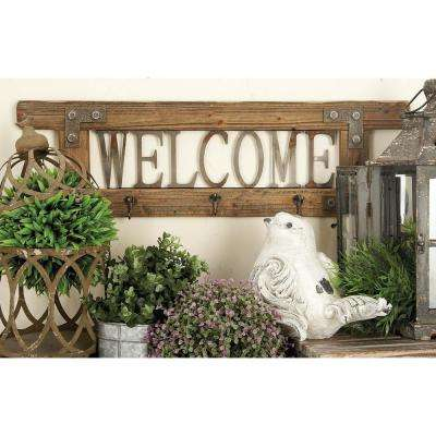 """32 in. x 10 in. """"Welcome"""" Wood and Metal Wall Hook"""