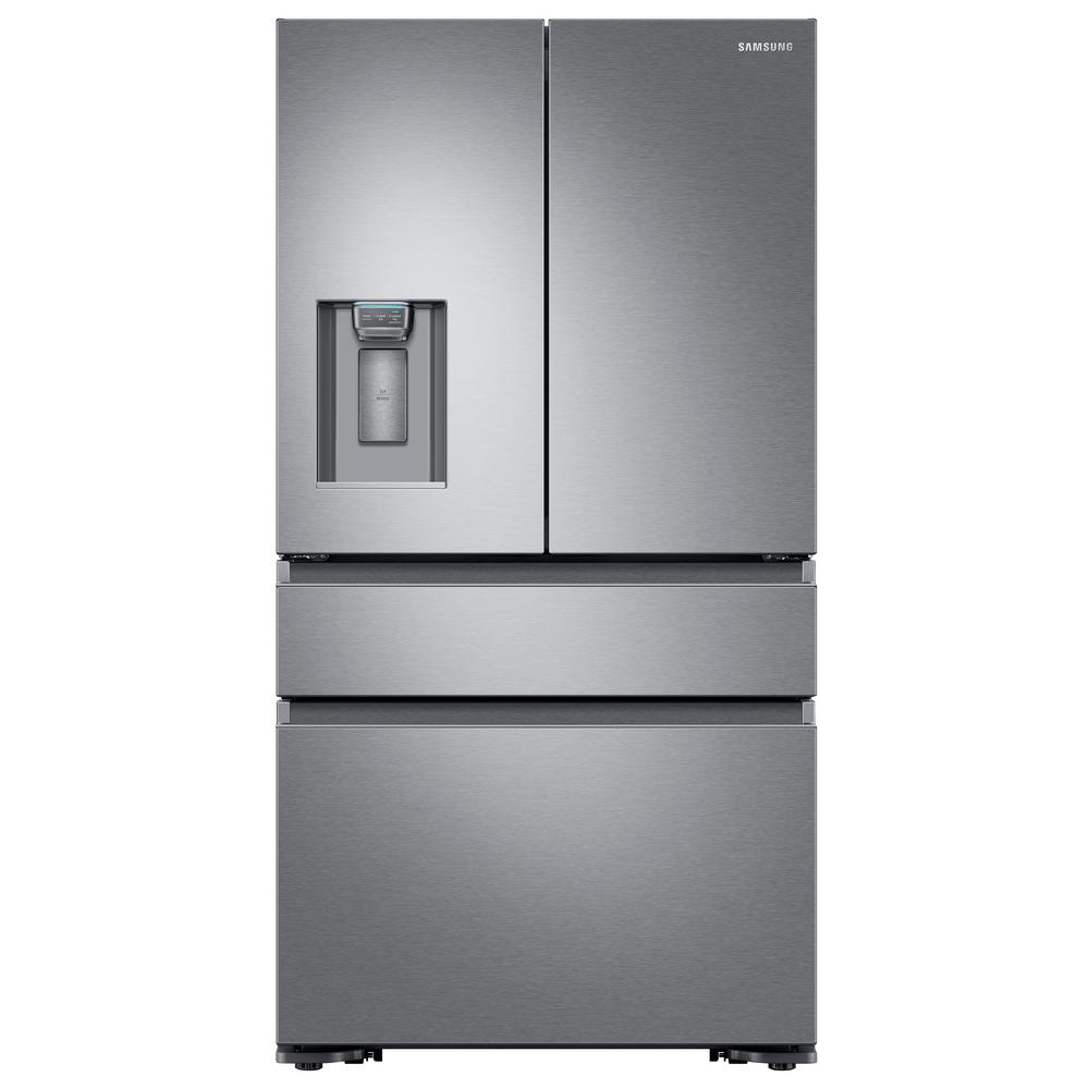 Samsung 22 6 cu  ft  4-Door French Door Refrigerator with Recessed Handle  in Stainless Steel, Counter Depth