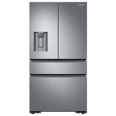 22.6 cu. ft. 4-Door French Door Refrigerator with Recessed Handle in Stainless Steel, Counter Depth