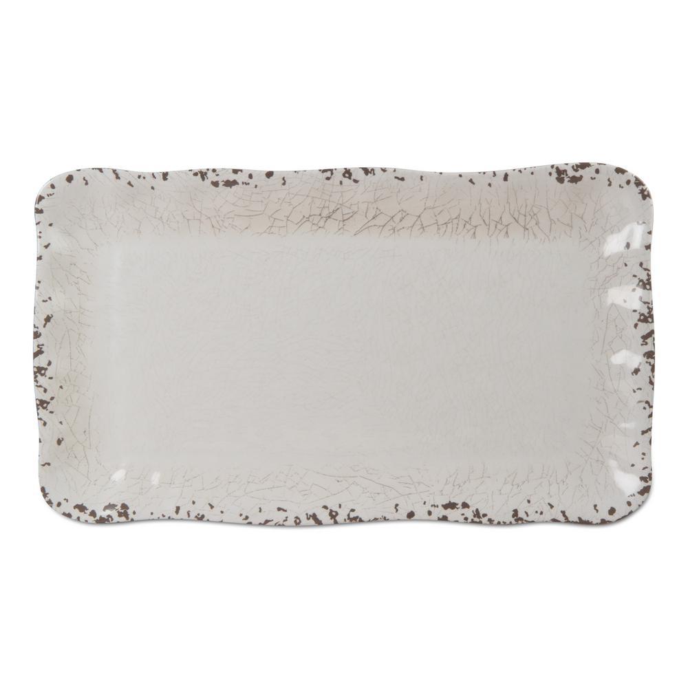 Veranda 1-Piece Ivory Melamine Platter