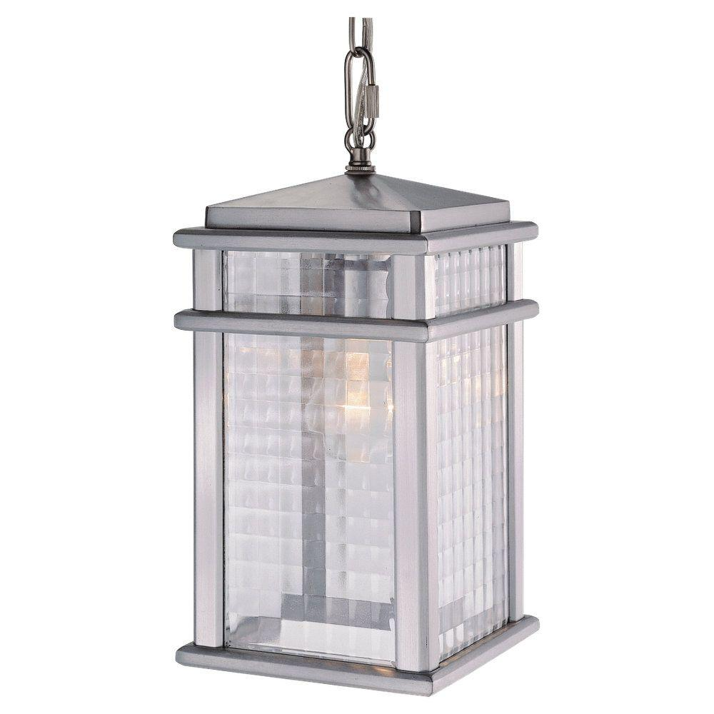 Feiss Mission Lodge 1-Light Brushed Aluminum Outdoor Hanging Pendant