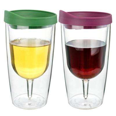 2-Piece Merlot and Verde 10 oz. Double Wall Acrylic Insulated Wine Tumbler Set