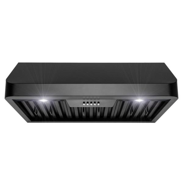 "AKDY RH0349 30"" Under Cabinet Black Stainless Steel Push Panel Kitchen Range Hood Cooking Fan"