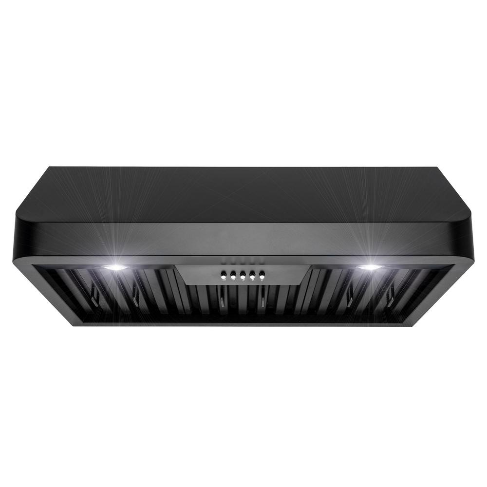 Akdy 30 In 492 Cfm Kitchen Under Cabinet Range Hood With Lights Black Painted Stainless Steel