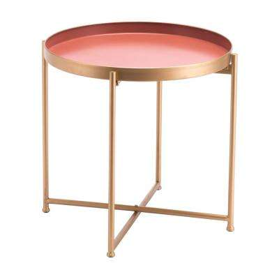 Red Pink Short End Table