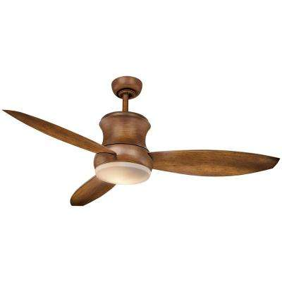 Hi-Wind 52 in. Indoor LED Distressed Koa Ceiling Fan with Remote Control