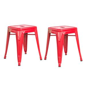 Loft Style 18 in. Red Stackable Metal Bar Stool (Set of 2)