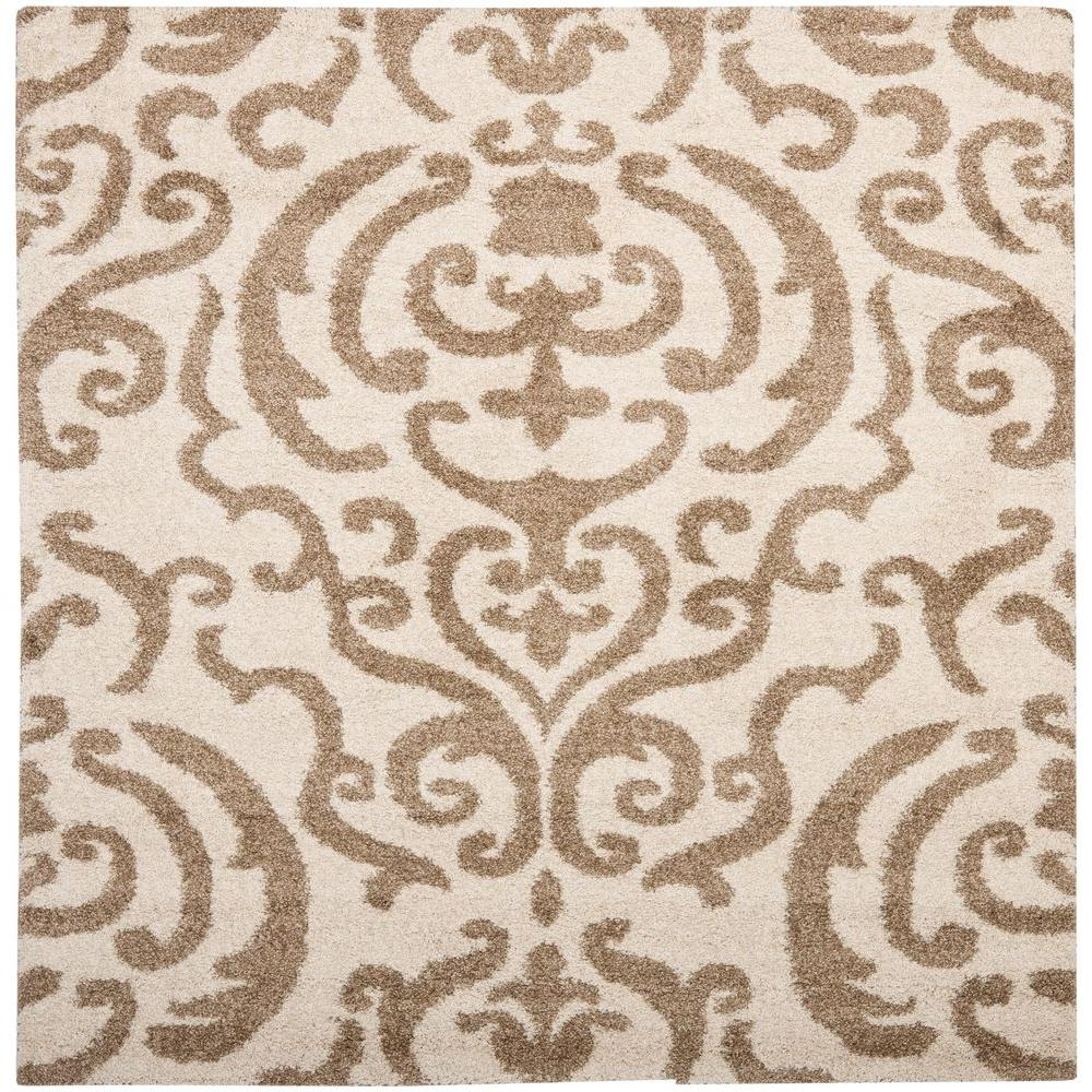 Safavieh Florida Shag Cream/Beige 4 ft. x 4 ft. Square Area Rug