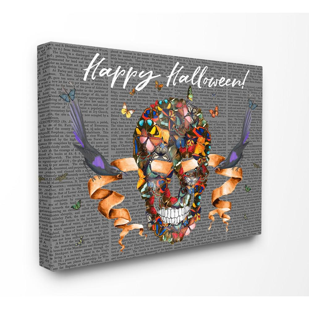 Stupell Industries 16 In X 20 In Happy Halloween Butterfly Skull With Ravens
