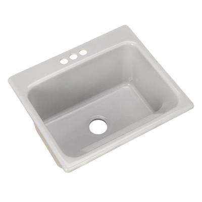 Kensington Drop-In Acrylic 25 in. 3-Hole Single Bowl Utility Sink in Ice Grey
