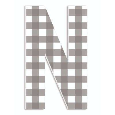 """12 in. x 18 in. """"Farmhouse Gingham Patterned Initial N"""" by Artist Daphne Polselli Wood Wall Art"""