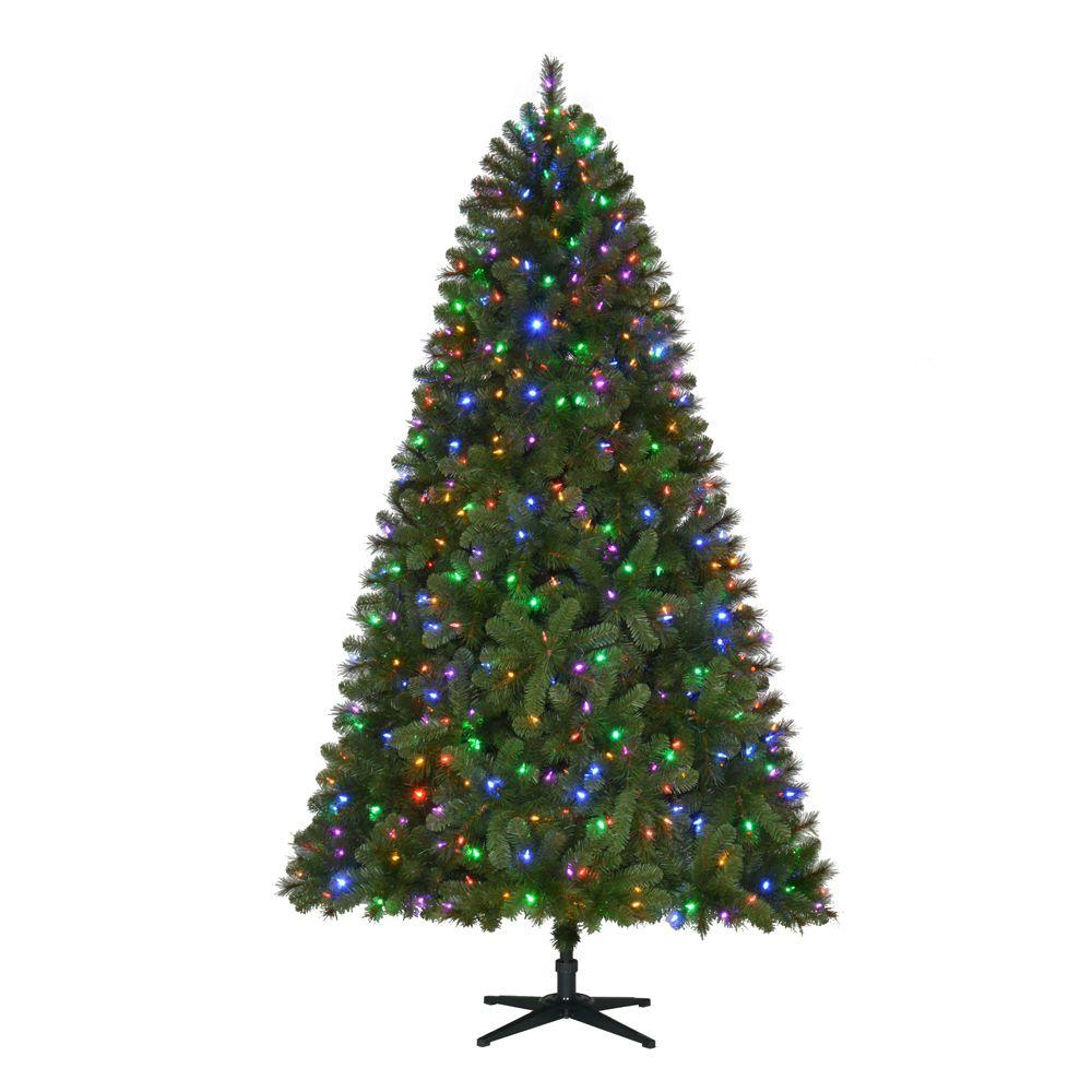 Home Accents Holiday 7.5 ft. Pre-Lit LED Wesley Spruce Quick-Set ...