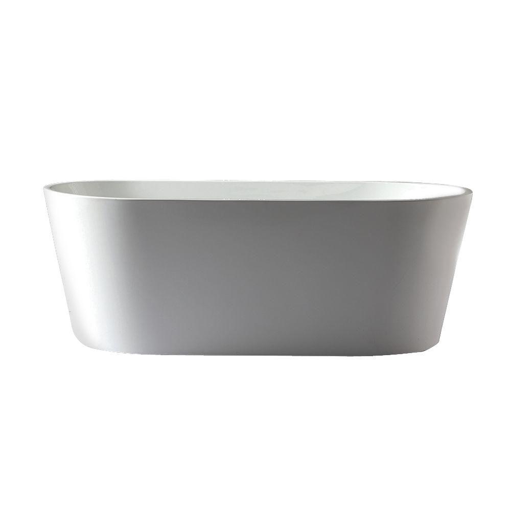 Jade Bath Urban Retreat Collection Camden 5.6 ft. Center Drain Free-Standing Bathtub in White